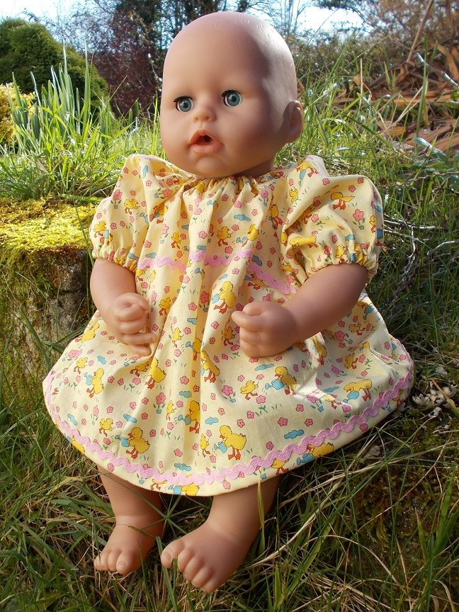 Easter Chicks Dress for Baby Dolls