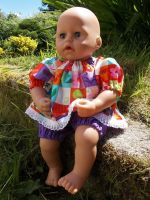 Purple Patchwork Top and Shorts Set for Baby Dolls
