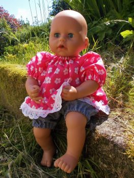 Raspberry Floral Top and Denim Shorts for Baby Dolls