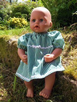 Green Gingham School Summer Dress for Baby Dolls