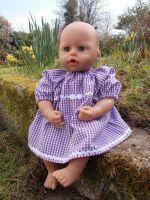 Purple Gingham School Summer Dress for Baby Dolls