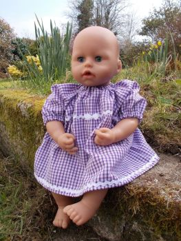 Purple Gingham School Summer Dress for Baby Dolls