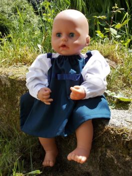 Navy Winter School Dress for Baby Dolls - Choice of Sleeve Colour