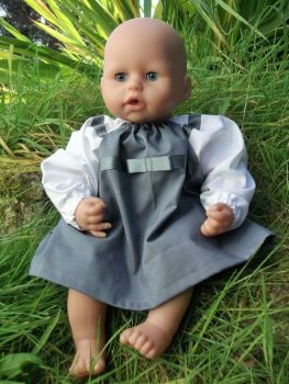 Grey Winter School Dress for Baby Dolls