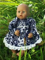Navy Dress with White Flowers, for Baby Dolls