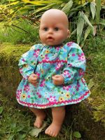 Turquoise Floral Winter Dress for Baby Dolls