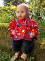Red Firework Print Top and Trousers Set for Baby Dolls - Size 2 Only