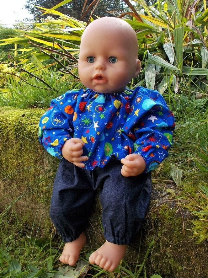 Blue Firework Print Top and Trousers Set for Boy Baby Dolls