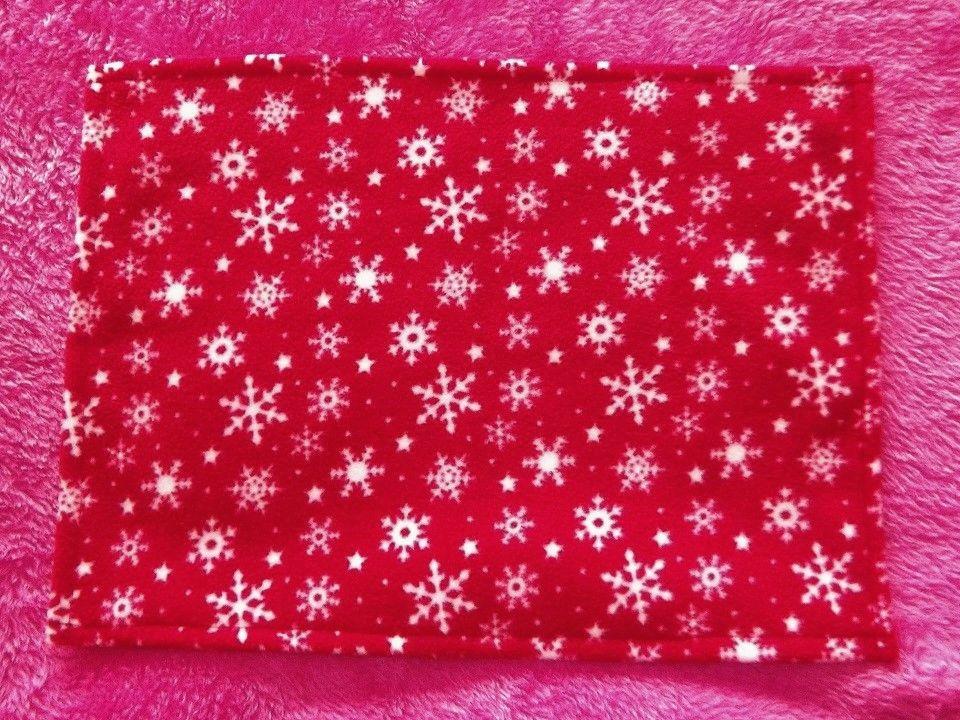 Red Snowflakes Fleece Blanket for Doll's Cot or Pram