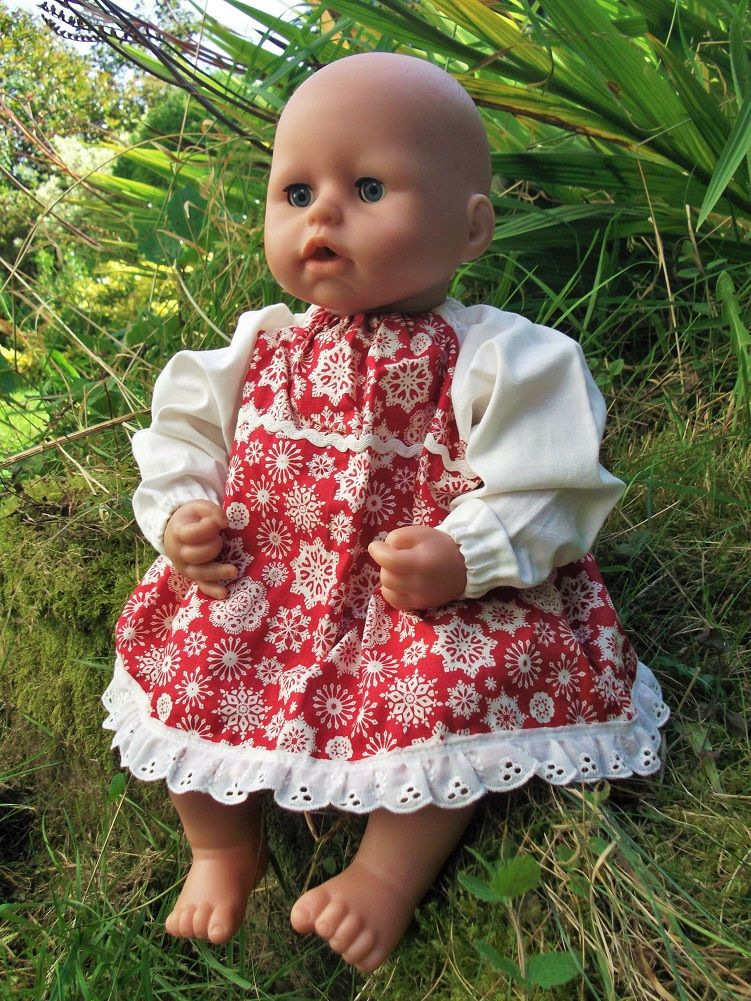 Red Snowflakes Christmas Dress for Baby Dolls