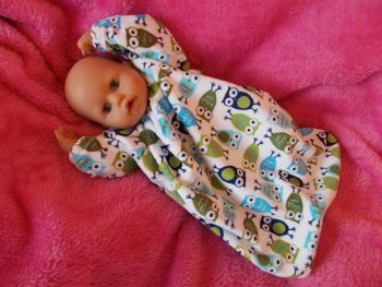Owl Print Snuggly Sleepsuit for Boy Baby Dolls - Ex-Demo, Size 1