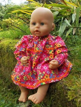 Cerise Floral Winter Dress for Baby Dolls - Ex-Demo, Size 1