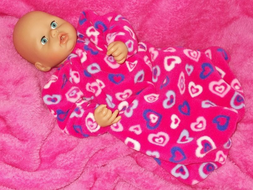 Winter Snuggly Sleepsuit for Baby Dolls - Size 1 & Size 3 Only