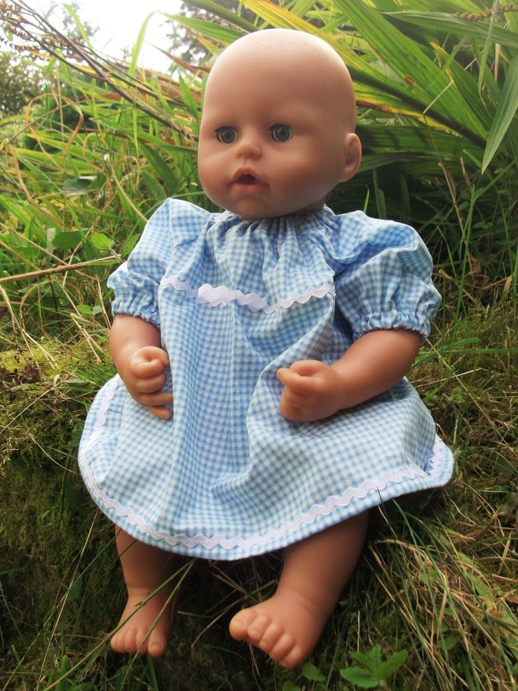 Blue Gingham School Summer Dress for Baby Dolls