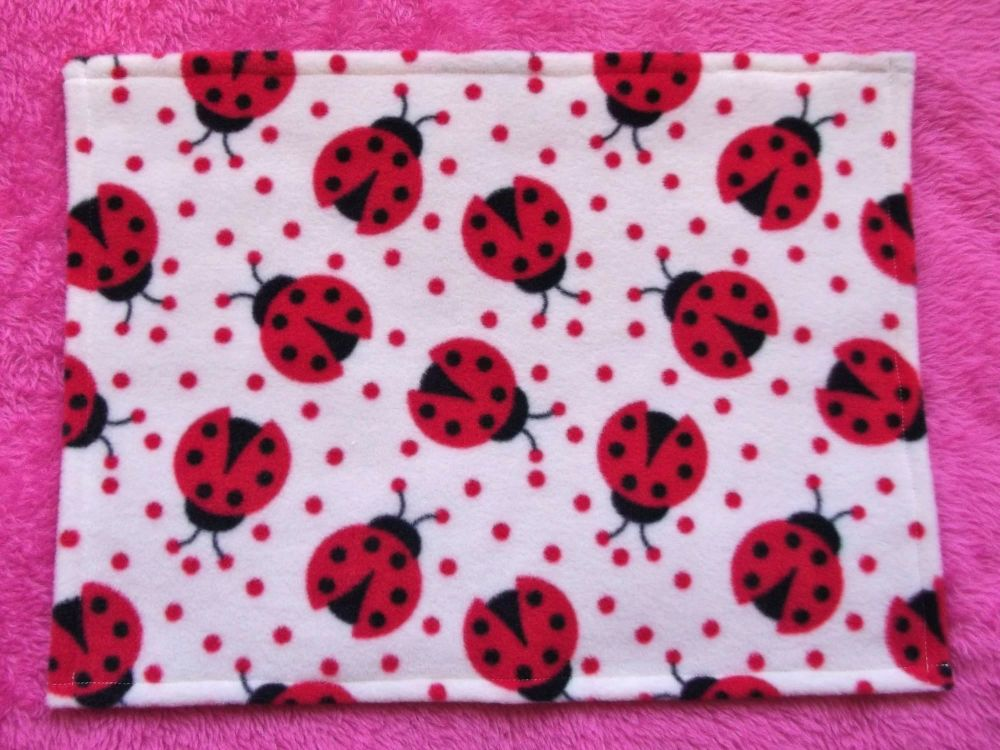 Ladybirds Fleece Blanket for Doll's Cots and Prams