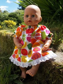Oranges and Lemons Dress for Baby Dolls - Size 1 and 3