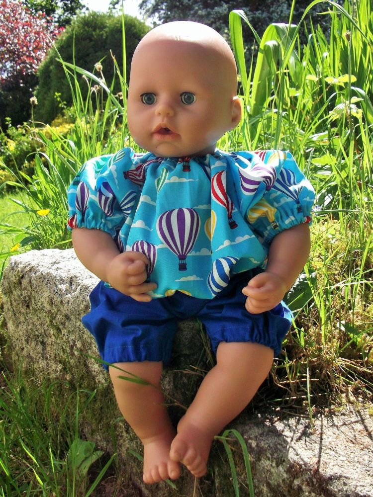 Hot Air Balloons Top and Shorts Set for Boy Baby Dolls