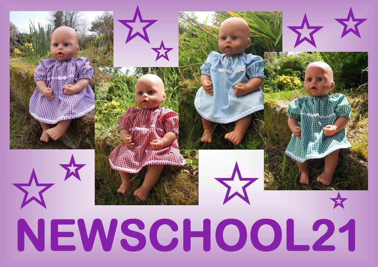 Doll wearing a blue gingham school dress in the garden, alonside advertising text