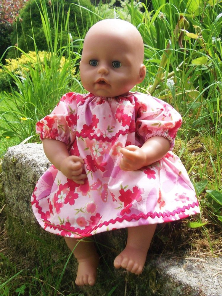 Flowers and Butterflies Dress for Baby Dolls