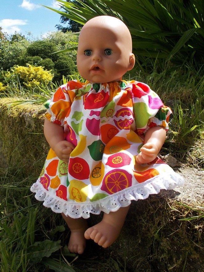 Oranges and Lemons Dress for Baby Dolls - Ex-Demo, Size 1