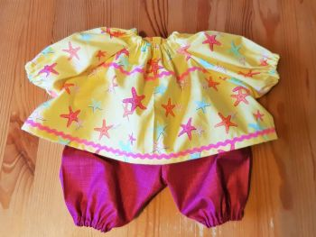 Starfish Top and Shorts for Baby Dolls
