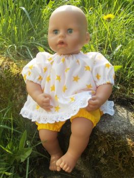 Star Print Top and Shorts Set for Baby Dolls