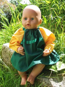 Green Winter School Dress for Baby Dolls - Choice of Sleeve Colour
