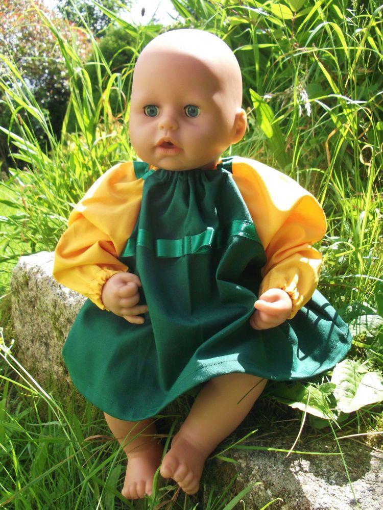 Green Winter School Dress for Baby Dolls