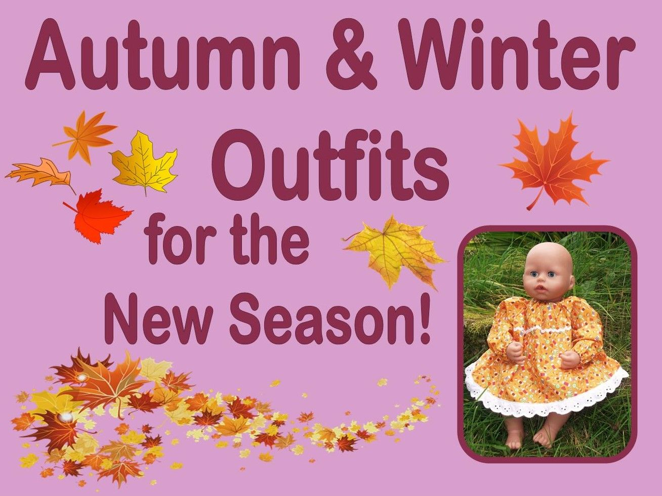 Photo of a doll wearing an orange dress, and cartoon autumn leaves with advertising text
