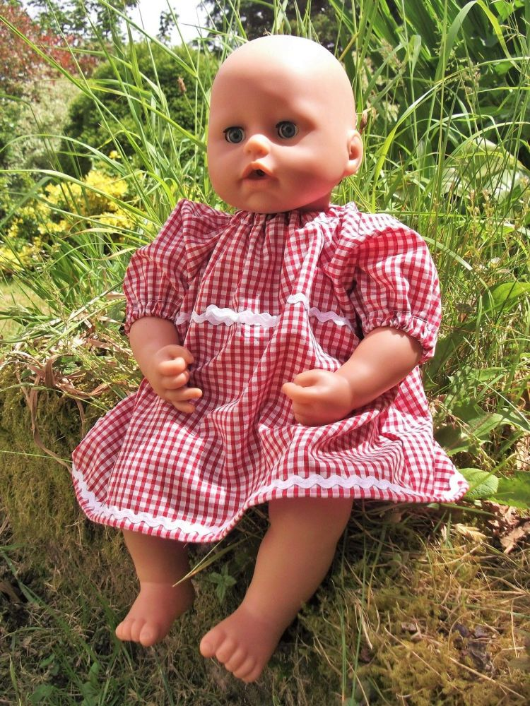 Red Gingham School Summer Dress for Baby Dolls
