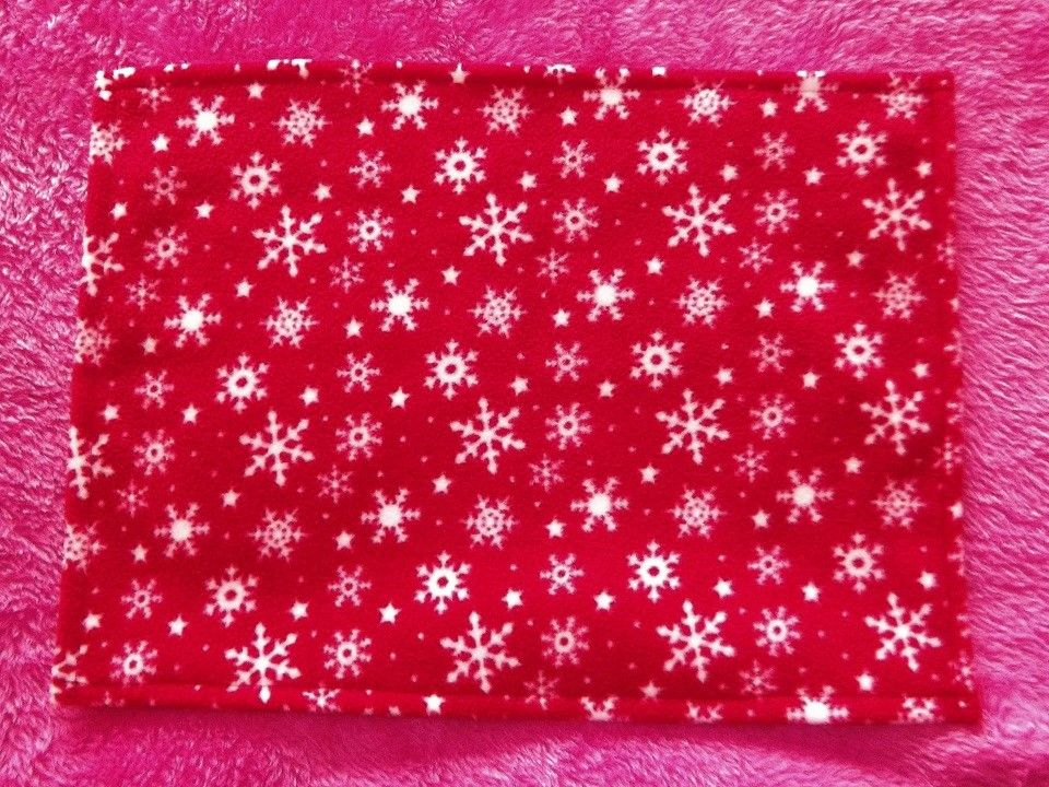 Red Snowflakes Fleece Blanket for Doll's Cot or Pram - Ready to Post