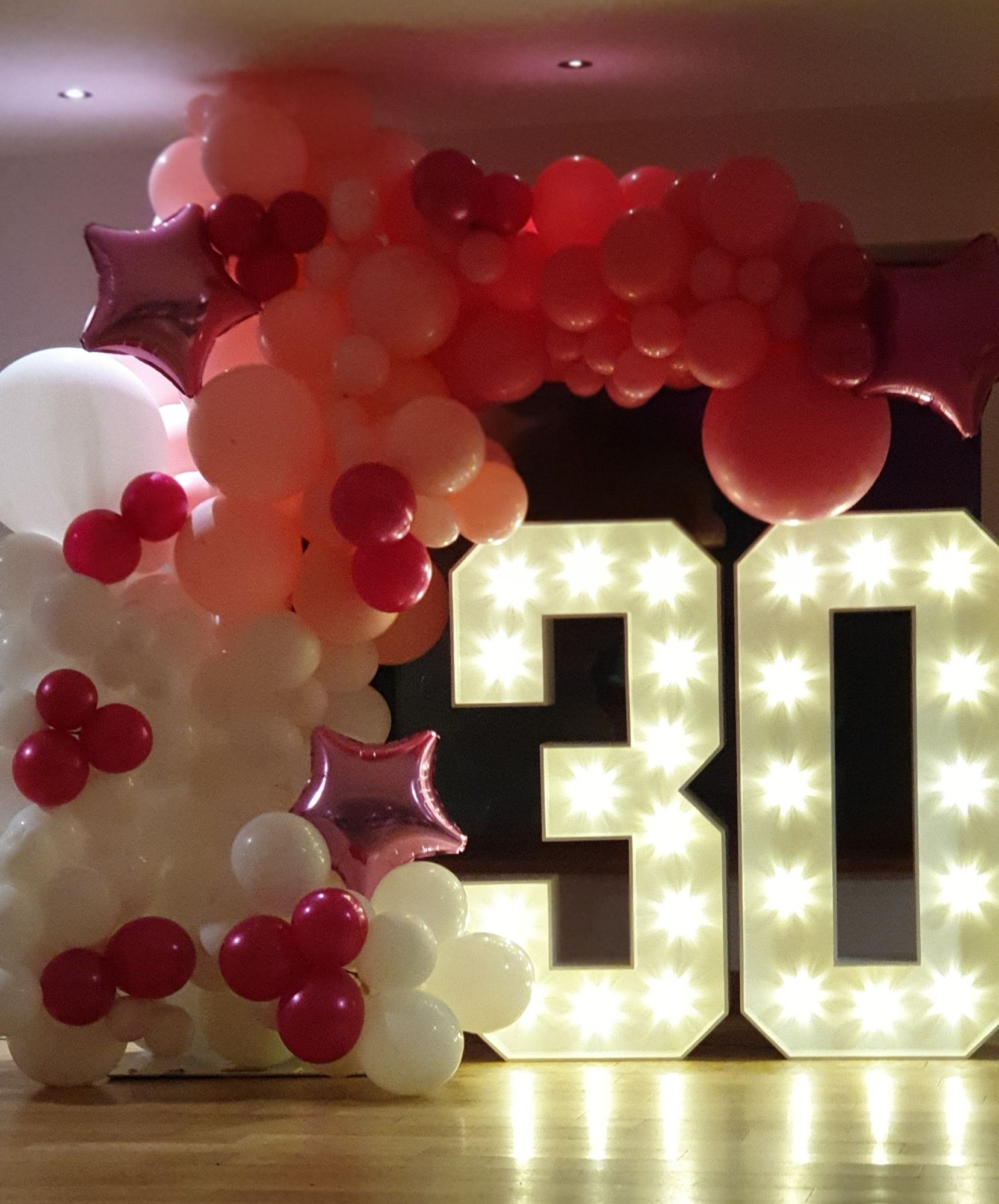 Light Up Numbers for 30th Birthday with Balloon Display