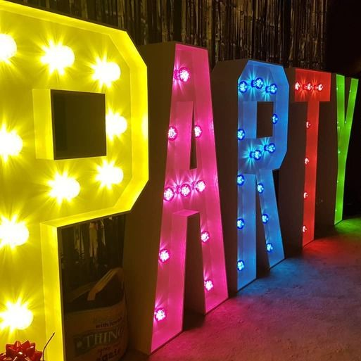 Party LED Light Up Multicoloured Letters for an event in Manchester