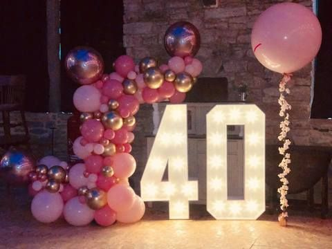 Beautiful Pink and Gold Balloon Display over 40 Numbers