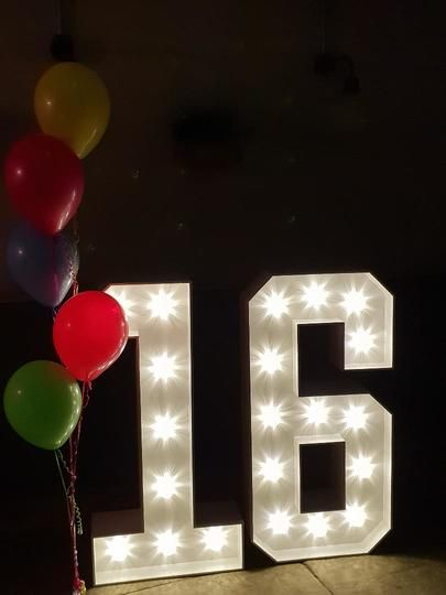 Light Up letters for 16th Birthday