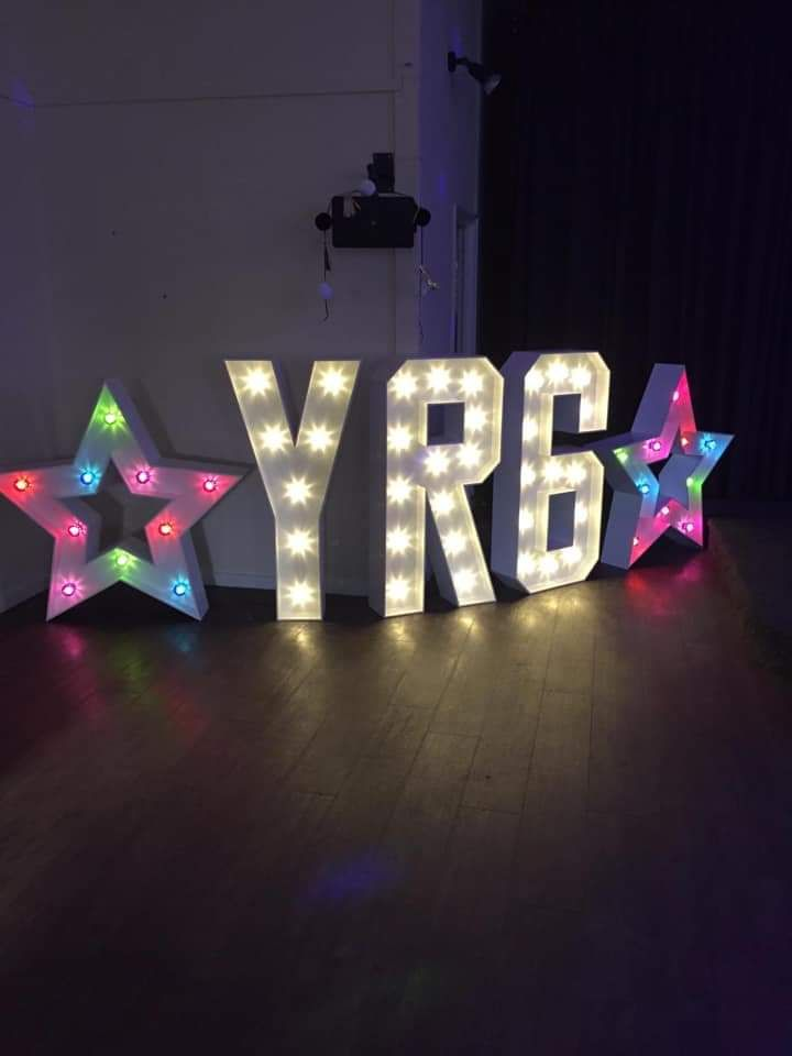 Light up Letters and Multicoloured Stars for Year 6 Prom