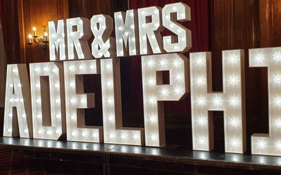 Mr and Mrs LED Light Up Letters Surname