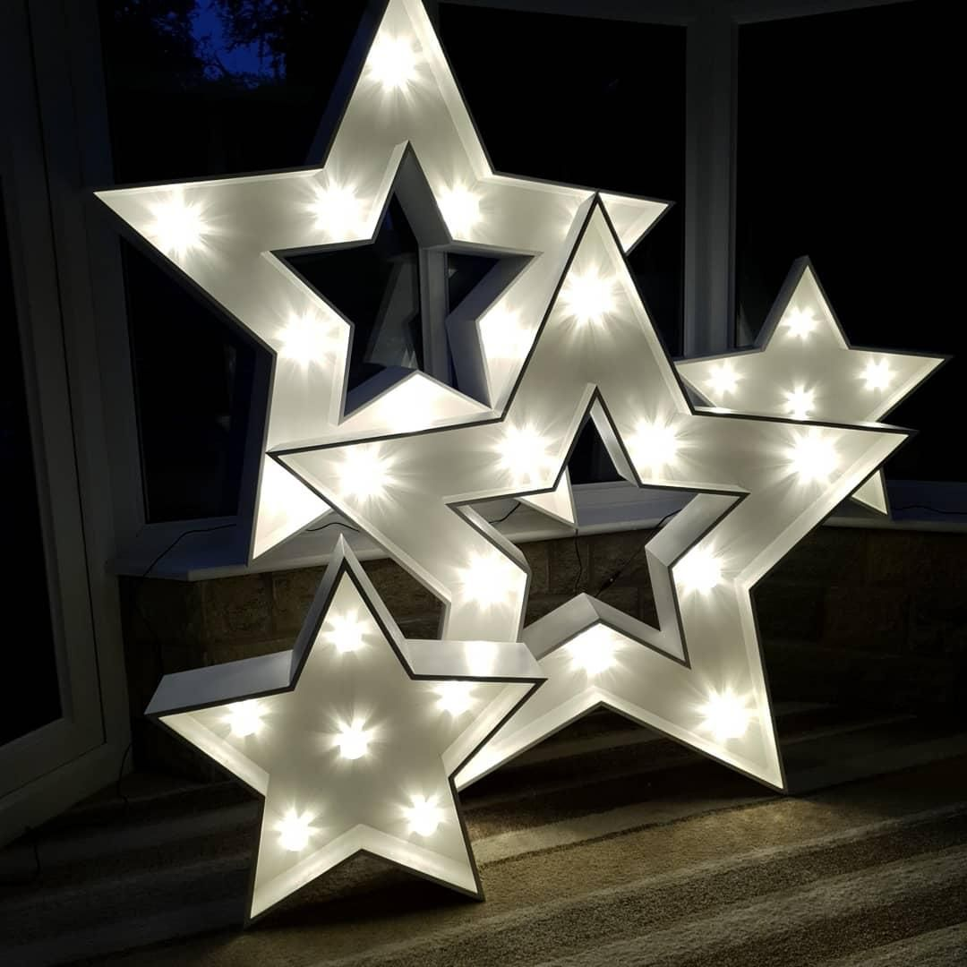 4ft and 2ft Stars in White