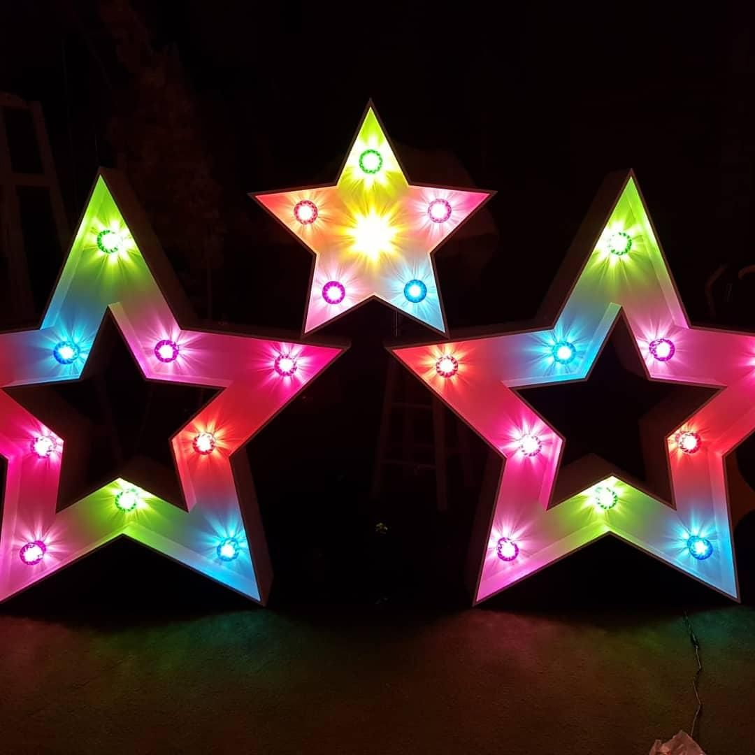 4ft and 2ft Stars with Multicoloured lights