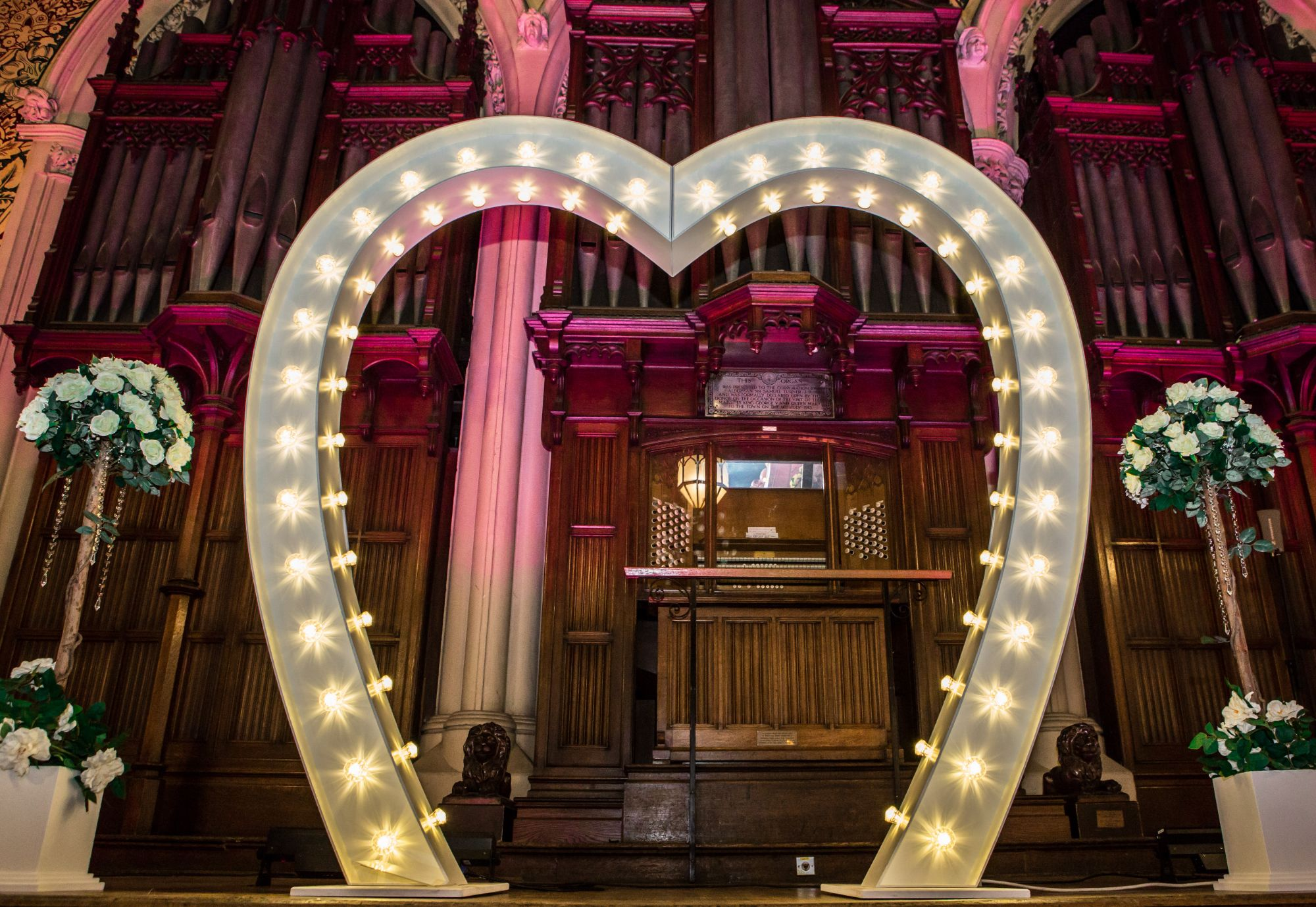 Light Up Love Heart Arch at Rochdale Town Hall