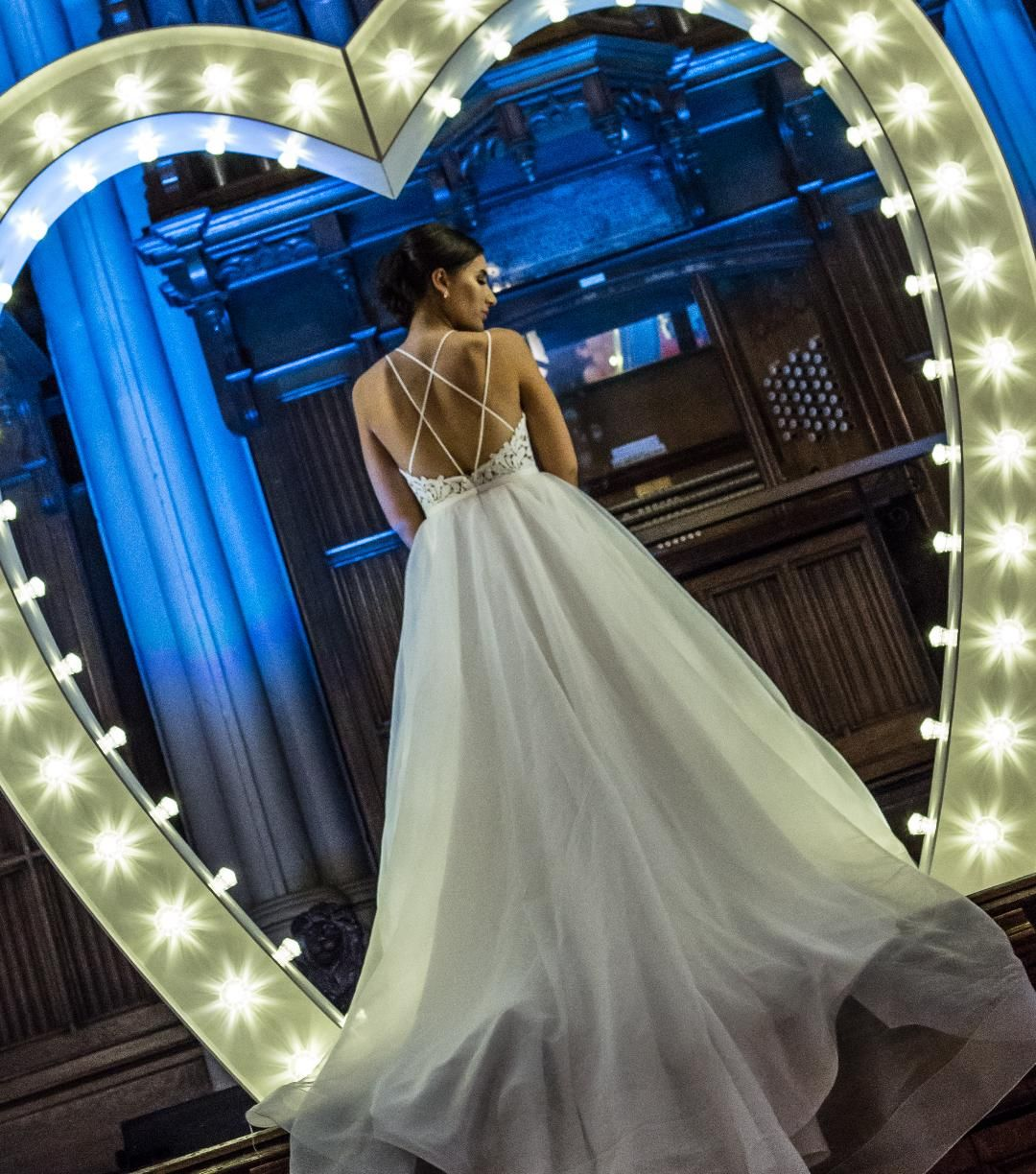 LED Light Up Love Heart Arch with Bride