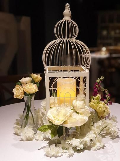 Birdcage Table Centrepiece for a Wedding Fair in Helmshore with small decor