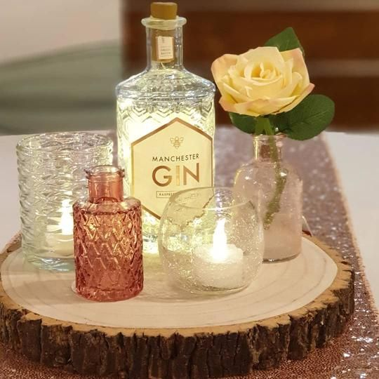 Log Slice Centrepiece & Bottle Lights
