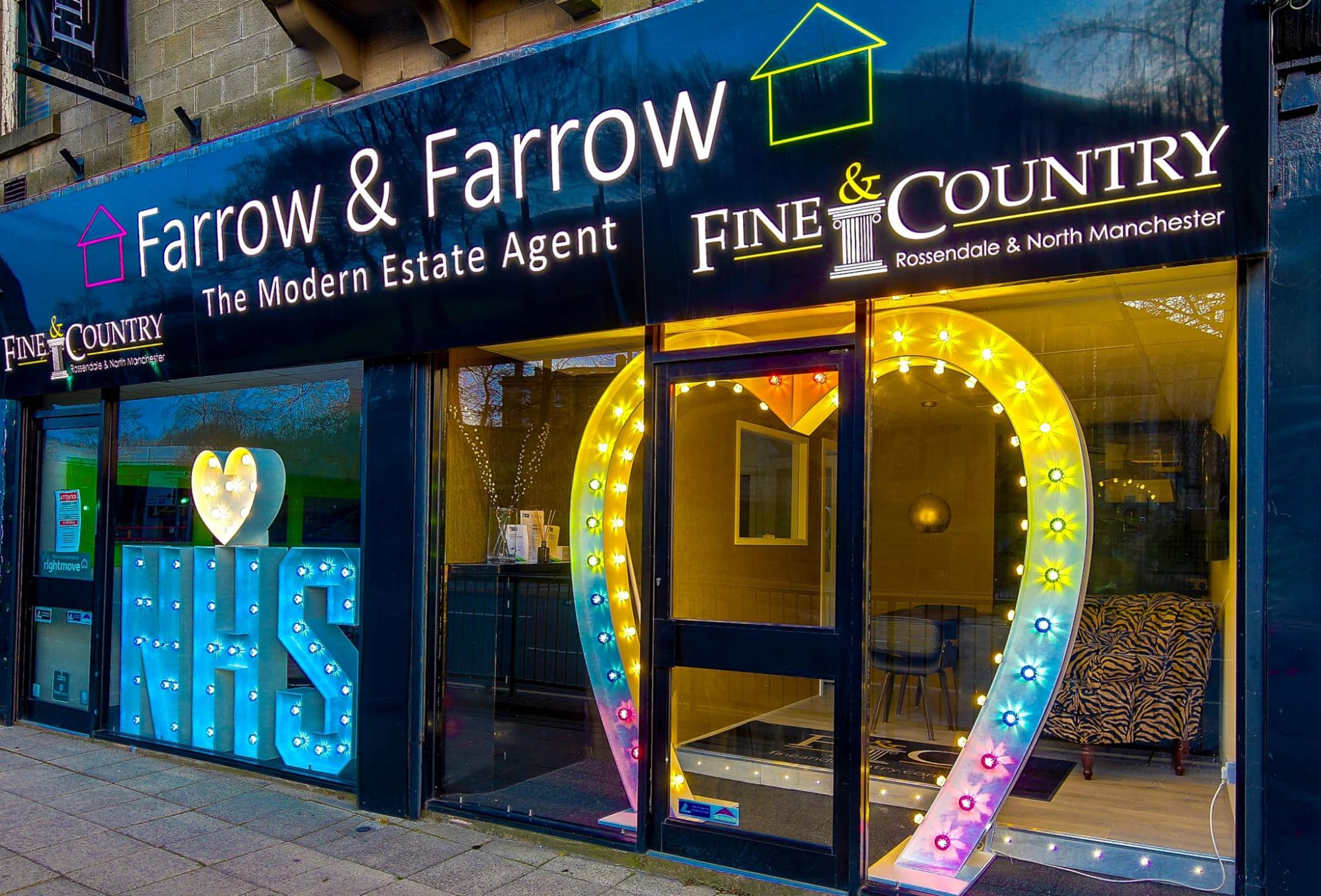 Farrow and Farrow Window Display Love Heart Arch NHS