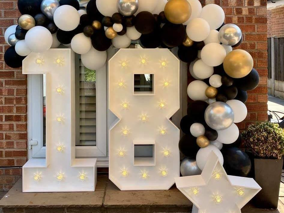 Lockdown Light Up Numbers and Balloon Garland for an 18th Birthday Party in