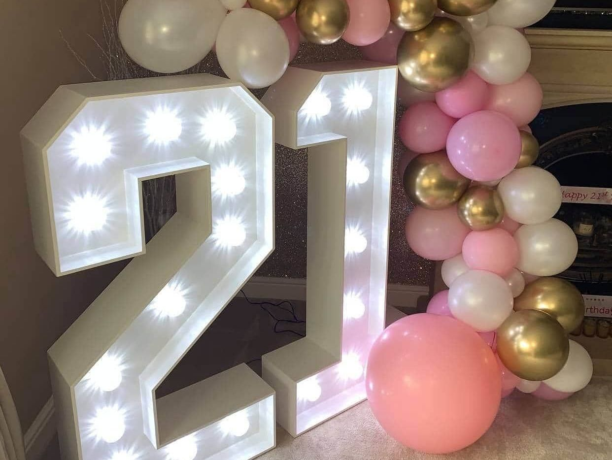 Lockdown Light up numbers for a 21st birthday party in Macclesfield