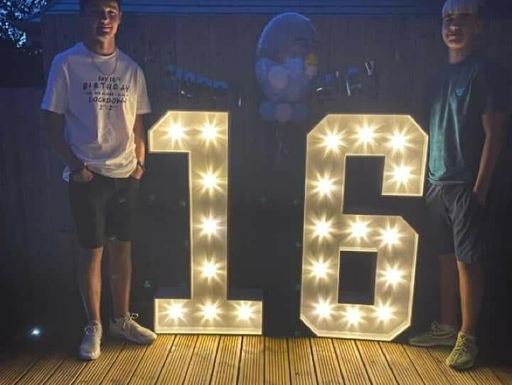 Lockdown Lights for a 16th Birthday Party in Helmshore, Rossendale