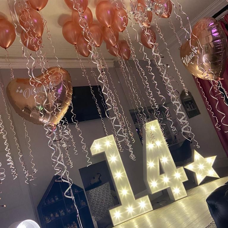 Birthday Light Up Numbers for a fourteenth Birthday party in lockdown