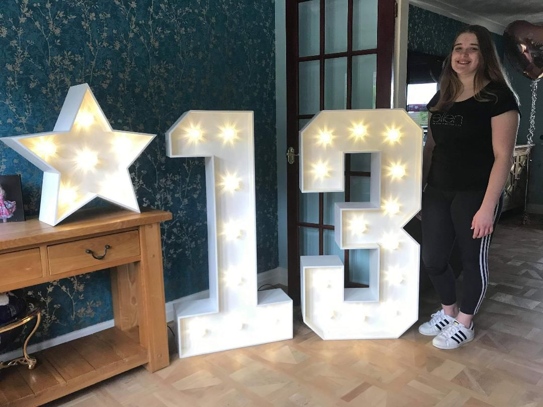 Birthday Light Up Numbers for a thirteenth Birthday in Rossendale