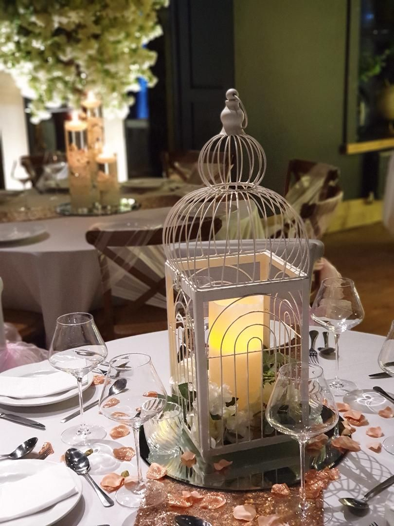 Birdcage Wedding Centrepiece for Small Intimate Wedding in Lancashire